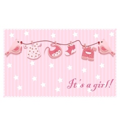 Pink girl birds laundry rope baby cloth card vector
