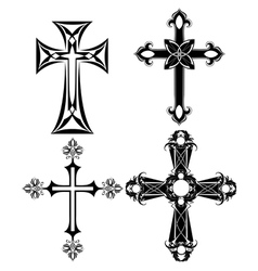 Four black cross vector