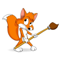 cute little cartoon fox with paintbrush vector image