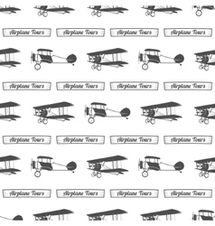 Vintage airplane tour pattern Old Biplanes vector image