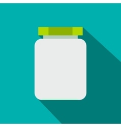 Empty glass jar with green lid flat icon vector