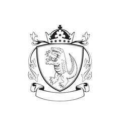 Alligator standing coat of arms black and white vector