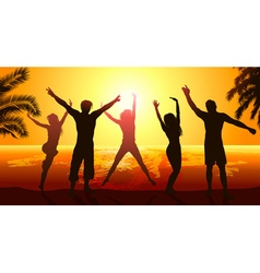 Silhouettes of friends jumping in the sunset vector