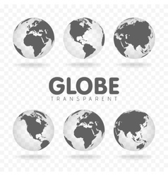 Gray globe icons with vector