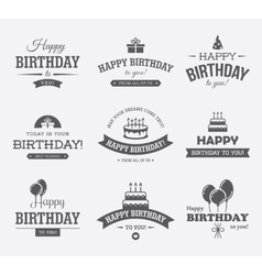 Black birthday labels set vector