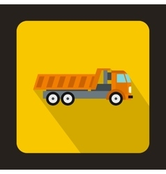 Orange dump truck icon flat style vector