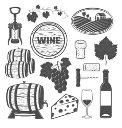 Wine Monochrome Objects Set vector image