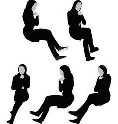 Arabic woman silhouette in contemplate pose vector
