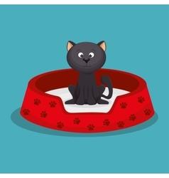 Beauty kitten red bed pet vector