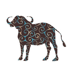 bison mammal color silhouette animal vector image