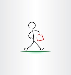 Business man hurry walking icon black design vector