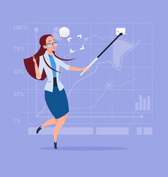 Business woman taking selfie photo with stick on vector