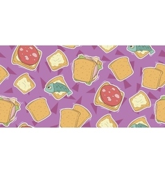 Cartoon seamless pattern with cute sandwiches vector