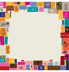 Collage doodle border vector