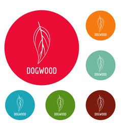 Dogwood leaf icons circle set vector