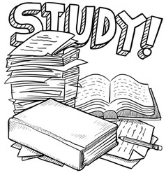 doodle school study vector image vector image
