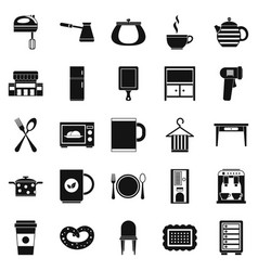 Kitchen icons set simple style vector