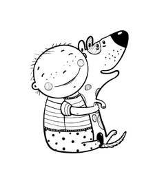 Little Boy Hugs Dog Best Happy Friends Outline vector image
