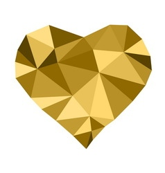 Low poly golden heart vector image