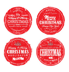 merry christmas grunge badges vector image vector image