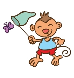 Monkey catching butterfly cartoon vector