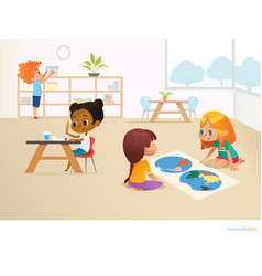 Multiracial children in montessori classroom vector