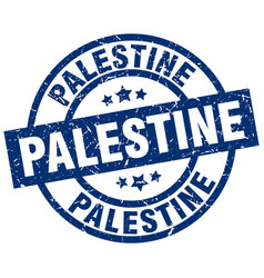 Palestine blue round grunge stamp vector