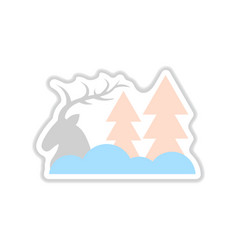 Paper sticker on white background deer forest vector