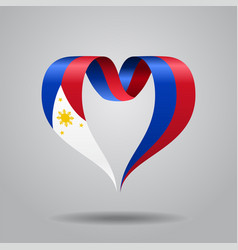 Philippines flag heart-shaped ribbon vector