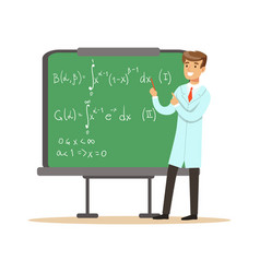 Physicist stands next to blackboard with vector