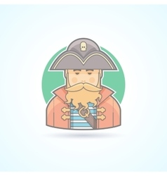 Pirate buccaneer sea dog icon vector