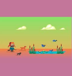 Pixel art story about hunter vector