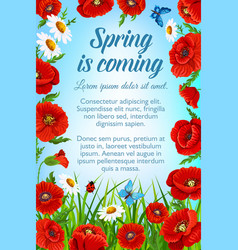 Poster with spring flowers and greetings vector