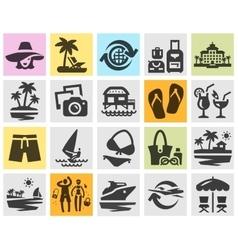 resort set black icons signs and symbols vector image vector image