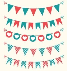 Retro bunting set red and green for scrapbook vector image