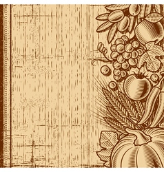 Retro harvest background brown vector image