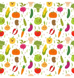 Seamless pattern with funny vegetables Cute vector image vector image