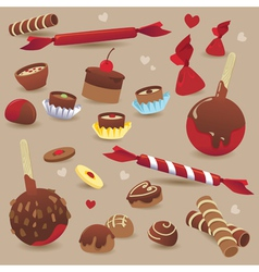 Set of sweet chocolate candy vector image