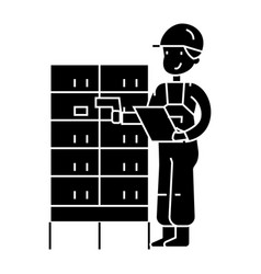 Warehouse delivery man checking barcode on post vector