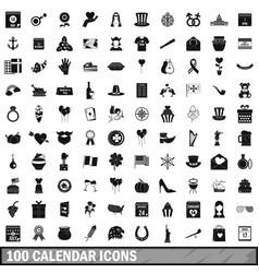 100 calendar icons set simple style vector