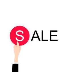 White flat hand holding sale lable black friday vector