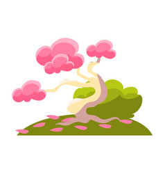 Pink tree bush and fallen leaves bonsai vector