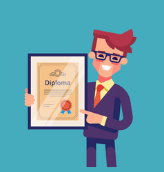 man holding diploma in his hands vector image