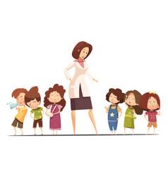 Kindergarten food posoning situation cartoon vector