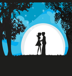 Lovers in the moonlight vector