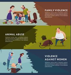 Social aggression horizontal banners vector