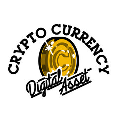 color vintage cryptocurrency emblem vector image