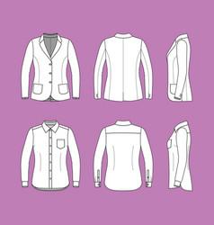 Set of a long sleeves shirt and blazer vector