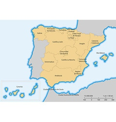 Spain map autonomous communities vector