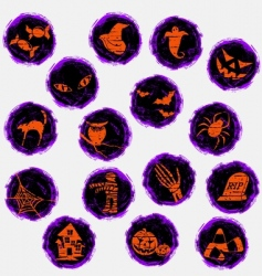 Grunge halloween icons vector